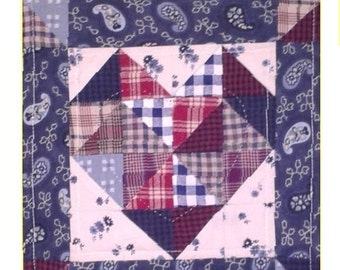 "Triple Heart Wallhanging, 7.5"" x 20"", Plaids, Prints, and Paisley"
