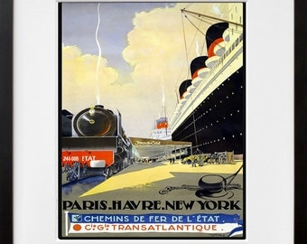 Steamboat Travel Poster Train Art Print Retro (TR118)