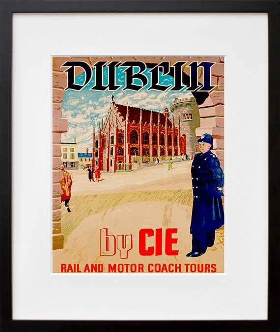 Dublin ireland art print irish travel poster home decor for Home decorations ireland