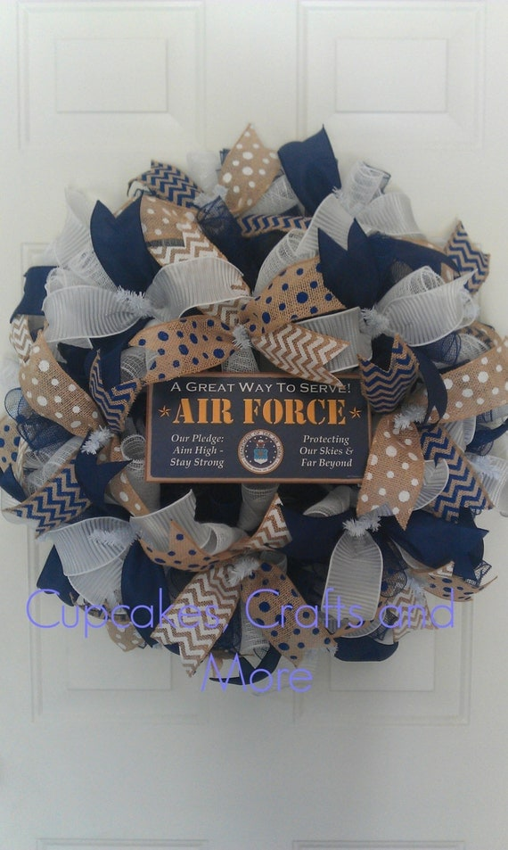 Us air force wreath us air force deco mesh by cupcakescraftymom for Air deco