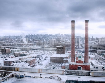 Spokane Steamplant, Nature Photography Print, Landscape Photo, Nature Wall Art, Blues, Winter Photograph, Outdoor Picture