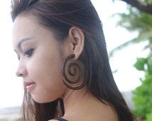 Fake Gauge Large Spiral Wooden Earrings, Sono Wood, Beautiful Fake Wooden Gauge