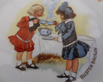 Antique Buster Brown and Mary Jane Advertising Plate Collector's Plate Buster Brown Shoes Vintage Ad (CH359C)
