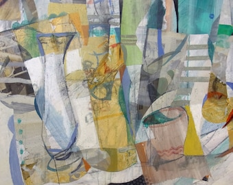 Original paintig by Juanma Pérez. Geometry Still life. Collage and Oil on canvas 28,7 x 36,2 in