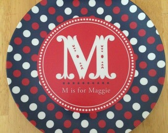 PERSONALIZED PATRIOTIC PLATE, Red White and Blue, 4th of July, Melamine Plate, Custom Plate or Bowl