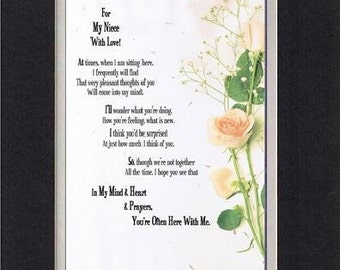 Heartfelt Poem for Family Members  – For My Niece with Love Poem . . .  11x14 Double-Beveled Matting