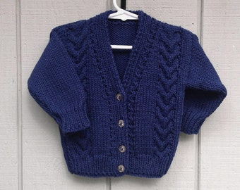 Navy toddler cardigan - 2 to 3 years - Childs knit sweater - Kids clothing - Knitted navy sweater - Childrens navy cardigan