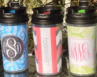 Personalized Monogrammed Mini Travel Mug 11.5 oz  (24hr turnaround in most cases) Great Stocking Stuffer