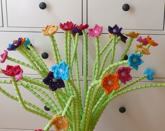 Lamp, tablelamp, Stranne lamp from Ikea with crochet stems and flowers, Free shipping