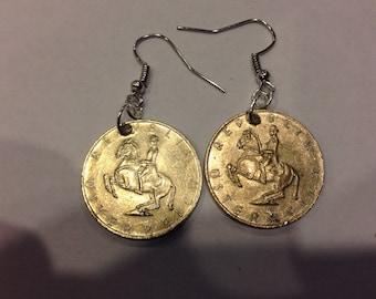 Austria 5 Shillings Coin Earrings