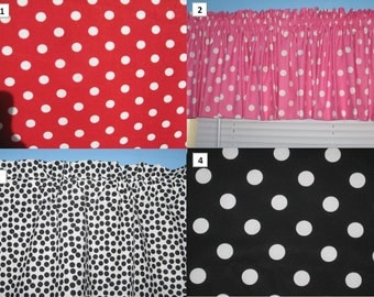 Black White Red Pink Polka Dots curtain valance
