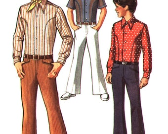 "Simplicity Pattern 8902 Boys Body Shirt - Bell Bottom and Hip Hugger Pants Size 8 1970""s"