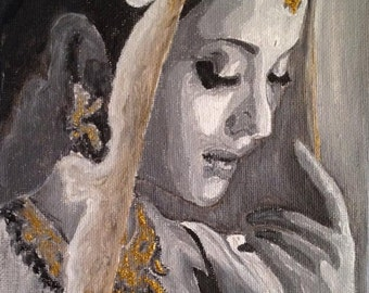 "Black and White Gold painting of Aishwarya Rai,""Aishwarya Rai"", painting of Aishwarya Rai"