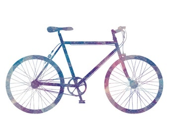 Bicycle art, bike posters, retro bicycle print, Colourful Bicycle Silhouette, Gifts for Cyclists, Bike Prints, Bicycle Art, Velo, Bicicleta