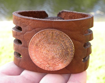 Bracelet Genuine Buffalo Bison leather 2 inch wide handmade cuff  wristband Large copper Aztec Calendar coin leather wristband bracelet