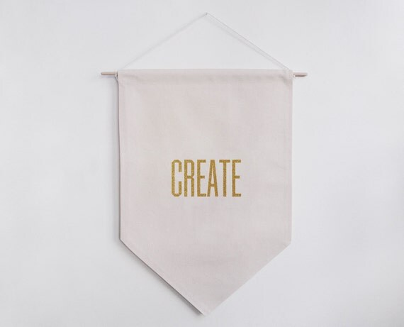 Create Home Decor Typographic Banner Original Font Handmade Flag Natural Cotton Glitter Gold Black Velvet Iron-on Material