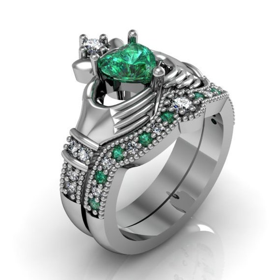 emerald gemstone engagement rings claddagh ring