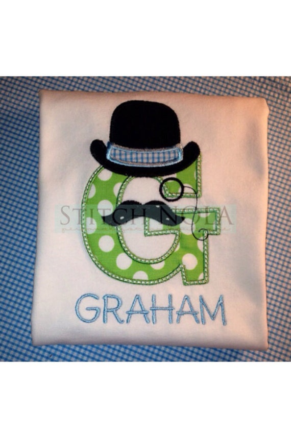 English moustache with top hat tee or Bodysuit