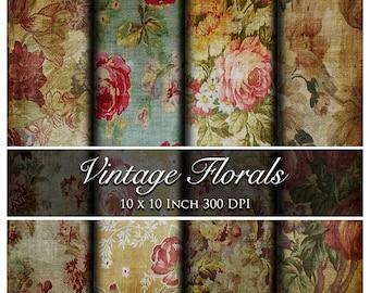 Seven Vintage Floral Digital Papers - 10 x 10 Inch
