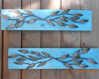Turquoise Blue Wall Hanging with Metal Leaves made from Recycled Pallets