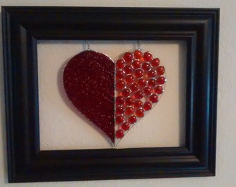 Handmade Framed Stained Glass Heart. Perfect for Valentines day.
