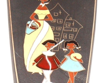 Vintage Mother & Children RUSCHA German Ceramic Wall tile mid century 60's 70's