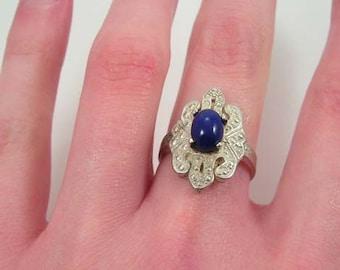 Vintage Sterling Silver Lapis Lazuli Ring