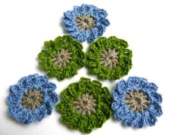 Crochet flowers green & blue applique, mini crochet motifs, 12 Petal embellishments, set of 6 crochet applique, linen flower, Scrapbooking