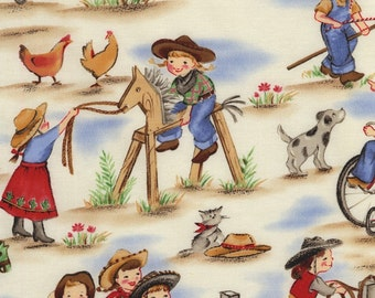 Lil' Cowgirl Fabric by Michael Miller Girl Western Cream