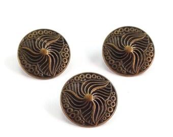 Vintage Style Decorative Metal Buttons 15mm Bronze Antique Brass Qty 3
