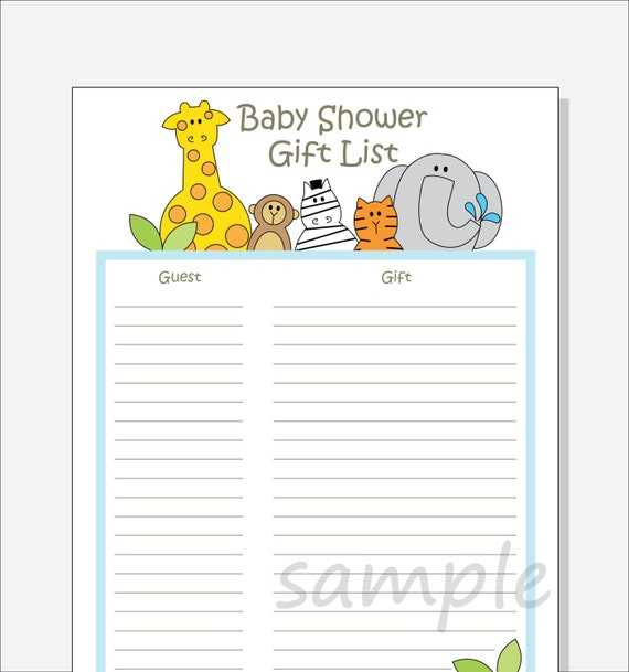 Diy baby shower guest gift list printable jungle animals for Wedding shower gift list template