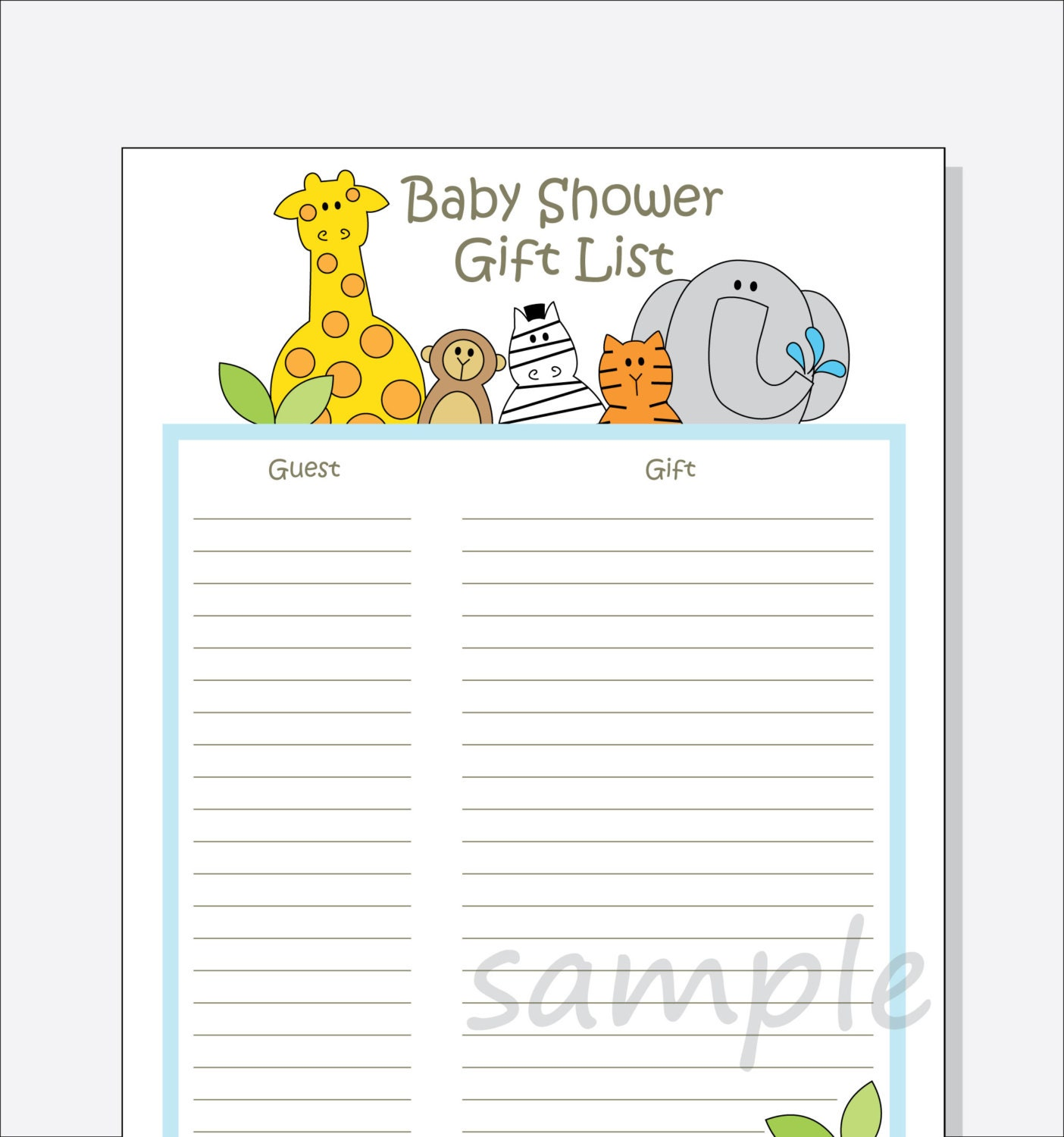 diy baby shower guest gift list printable jungle animals by, Baby shower