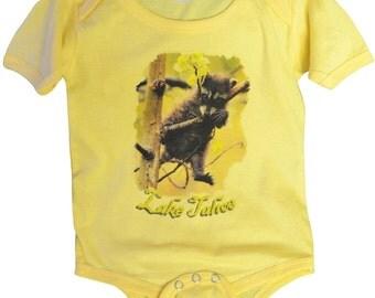 Tahoe Baby Onesie Yellow Raccoon