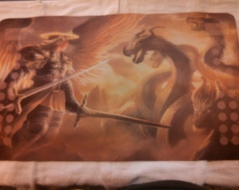 Angel fighting hydra ccg playmat, giant mousepad, mtg, Magic the Gathering