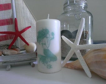 Mermaid Candle, Nautical Candle, Decorative Candle--Six Inch Pillar Candle with Stamped Mermaid