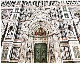 Florence Italy Photography, , 8x10 Duomo entrance in Florence, Duomo designed by Brunelleschi, Florentine Art,