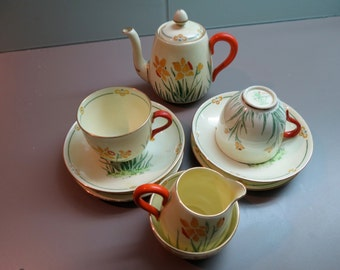 Crown Staffordshire Art Deco Tea For Two - Daffodils