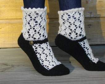 Maryjane slippers for woman - Maryjane lace socks - Hand knitted house slippers for adult - For Mothers day - Antique white and black, SALE!