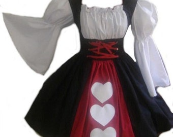 Halloween Costume Queen of Hearts Adult Fancy Dress Alice in Wonderland Custom Size Made to Measure Plus Sizes Black Red White