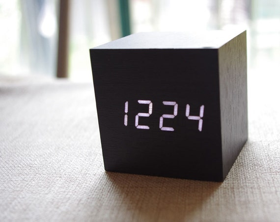 Wood LED Clock /Wooden LED Desk Clock/ Square Wood by WhatWOOD