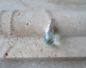 Aqua Blue Crystal Quartz Pendant Sterling Silver Neckalce - Birthday Gift, Someone Special Gift, Mother's Day Gift