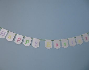 Happy Easter banner, Easter bunting, Pastel banner, Easter decor, Spring decor, Easter party decor