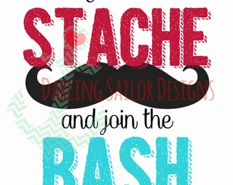 Grab a Stache Party Sign - Instant Download