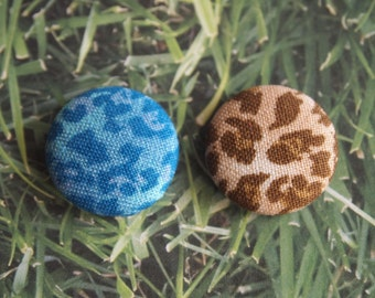 Blue or brown leopard print  fabric covered buttons (size 60, 40, 32, 20, or 18)