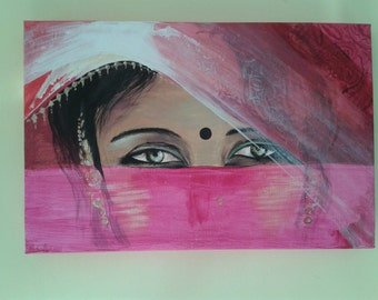 India portrait/ Modern painting with woman's face / Portrait painted / Indian women painting / Indian eyes veiled painted