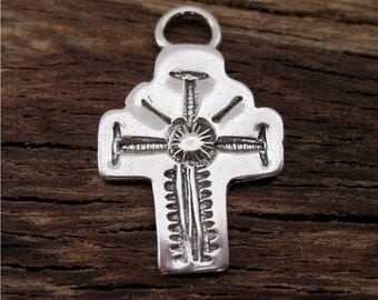 Sterling Silver Stamped Southwestern Cross Charm and Pendant (one)