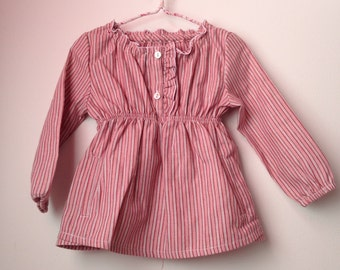 Pink striped cotton blouse, Baby&Toddler blouse, Girls blouse, For all seasons clothes,Little girl clothing
