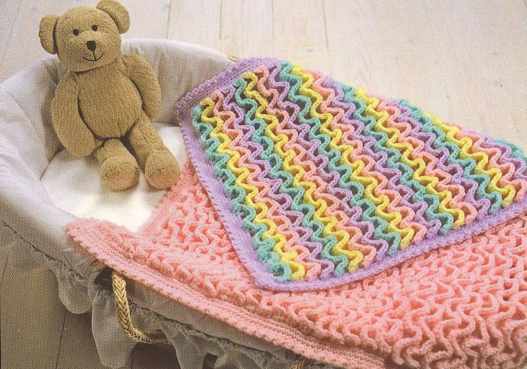 Vintage Crochet Patterns Baby Blankets : wiggly pram blanket for baby crochet vintage pattern PDF