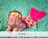 Baby Mermaid Tail and Headband Set, Made to Order