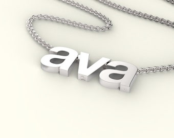 personalized name or word necklace in helvetica